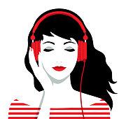 Girl with headphones on her head