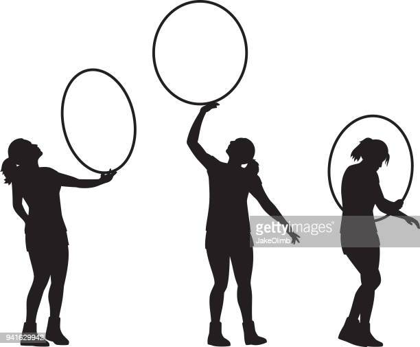 girl with hoop silhouettes - plastic hoop stock illustrations