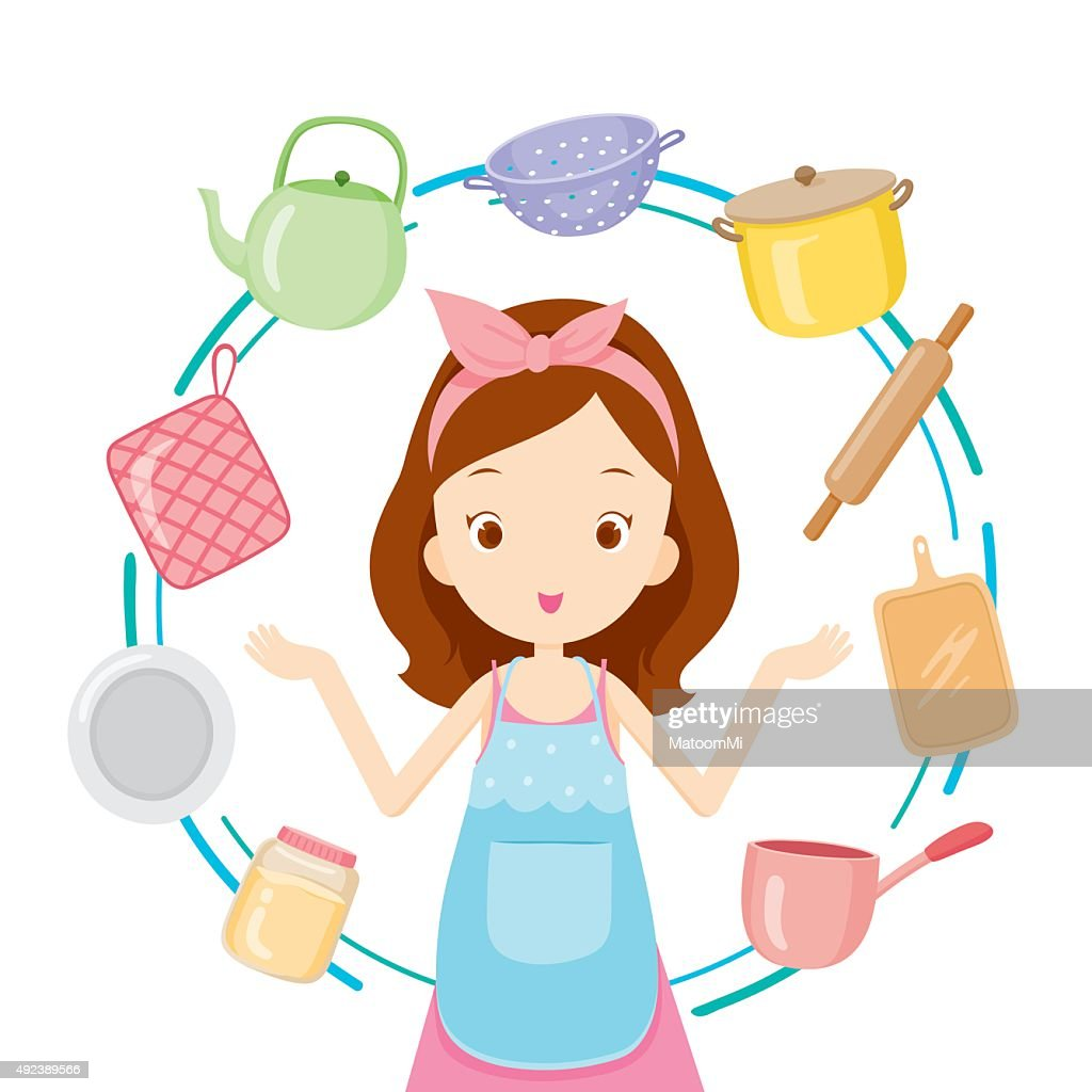 Girl With Kitchen Equipments