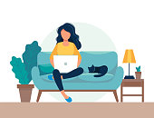 girl with laptop sitting on the chair. Freelance or studying concept. Cute illustration in flat style.