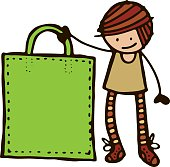 Girl with large green shopping bag