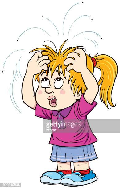girl with lice - louse stock illustrations