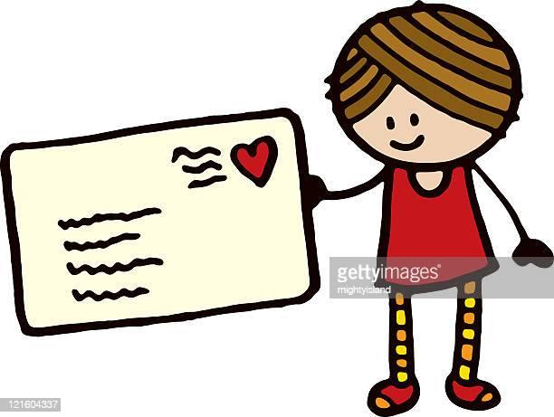 girl with love letter - love letter stock illustrations, clip art, cartoons, & icons