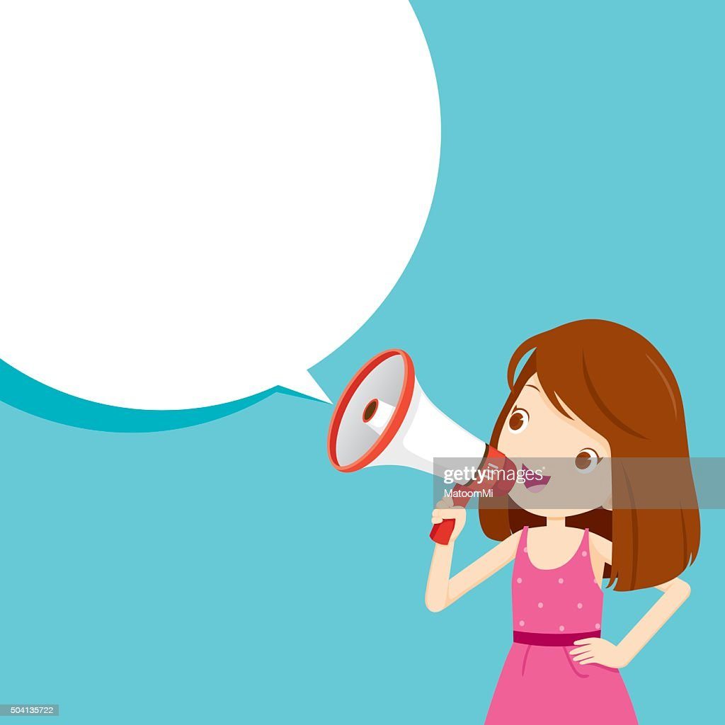 Girl With Megaphone Announcement And Speech Bubble