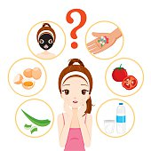 Girl With Pimples On Her Face And Treatment Icons Set
