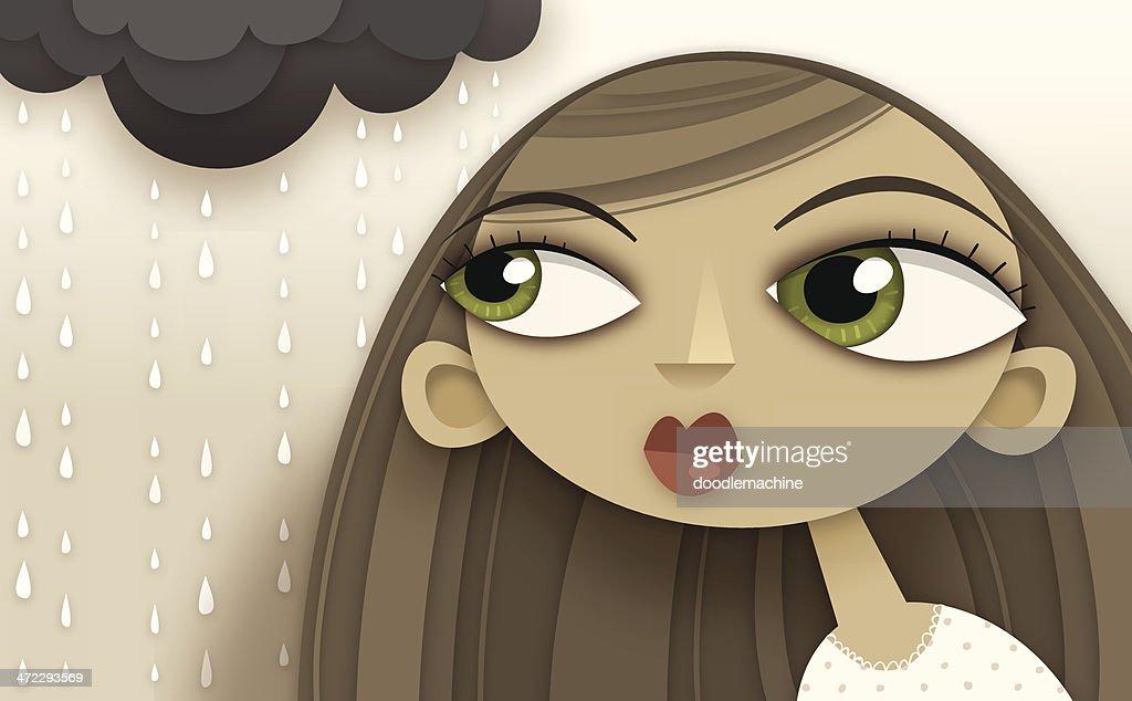 Girl, with rain