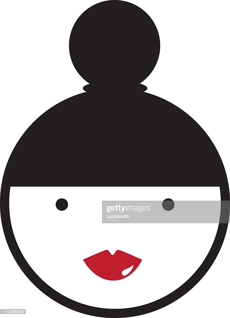 Girl with red lips and bun contemporary vector : stock illustration