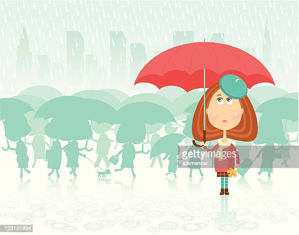 girl with red umbrella - puddle stock illustrations, clip art, cartoons, & icons