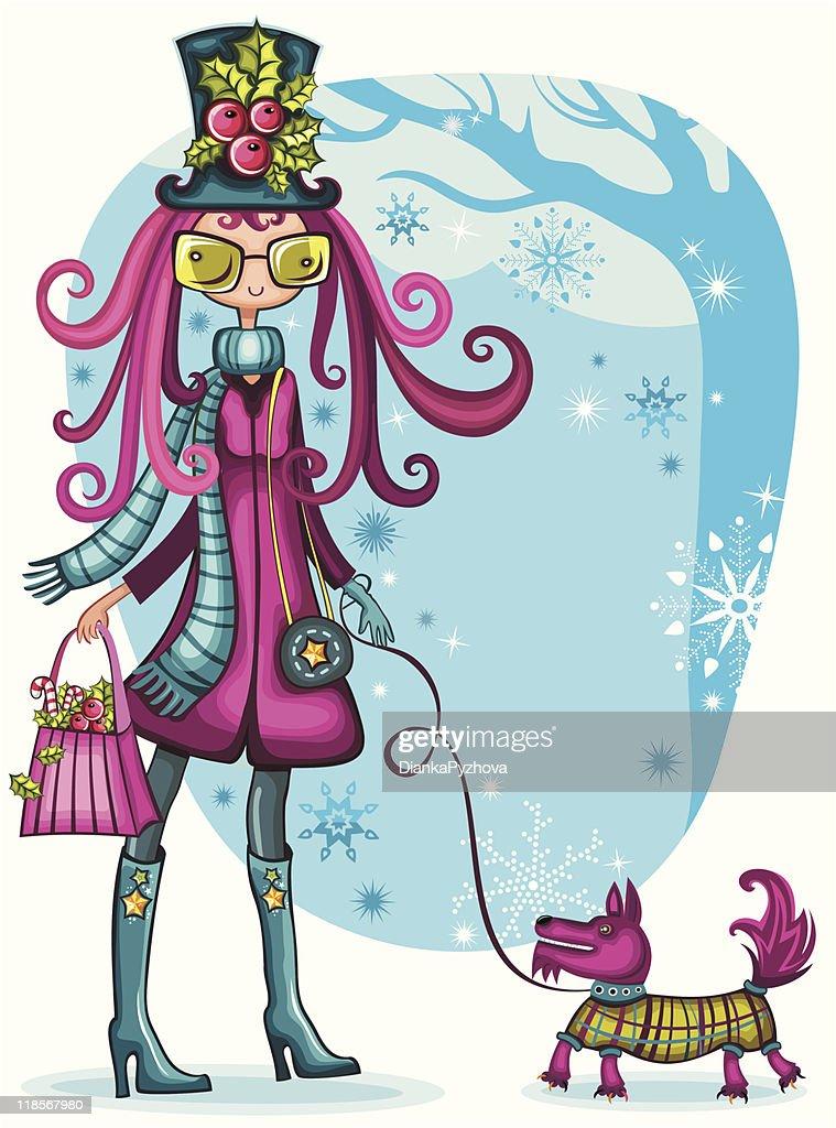 Girl With Schnauzer. Winter