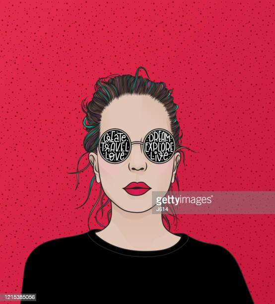 girl with sunglasses - young women stock illustrations