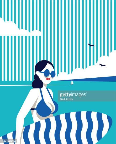 illustrations, cliparts, dessins animés et icônes de fille avec la table de surf - pancarte de manifestation