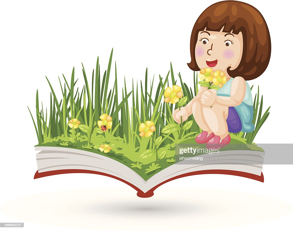 girl with the flowering book