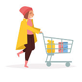 Girl with the supermarket cart