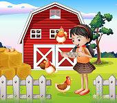 girl with their farm animals
