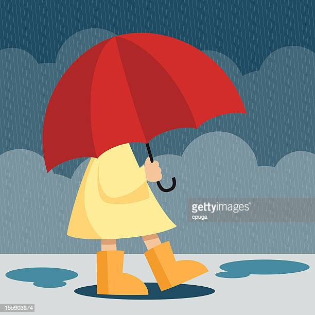 girl with umbrella - puddle stock illustrations, clip art, cartoons, & icons
