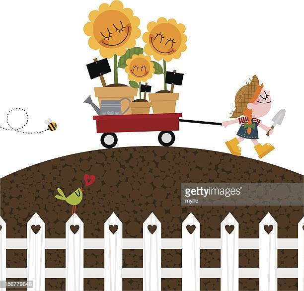 girl with wheelbarrow and sunflowers gardening spring - landscaper stock illustrations, clip art, cartoons, & icons
