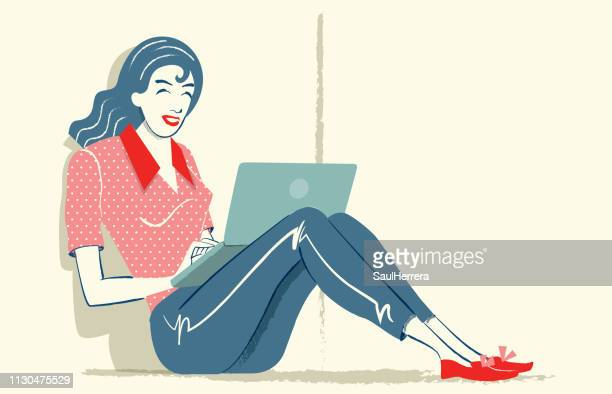 girl with your laptop - mujeres jóvenes stock illustrations