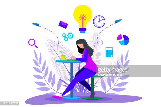 girl working on laptop and  businessman standing - teenage girls stock illustrations