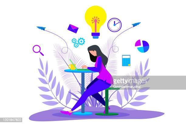 ラップトップとビジネスマンの立って働く女の子 - ライフスタイル点のイラスト素材/クリップアート素材/マンガ素材/アイコン素材