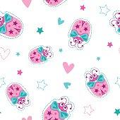 Girlish seamless pattern with cute ladybugs