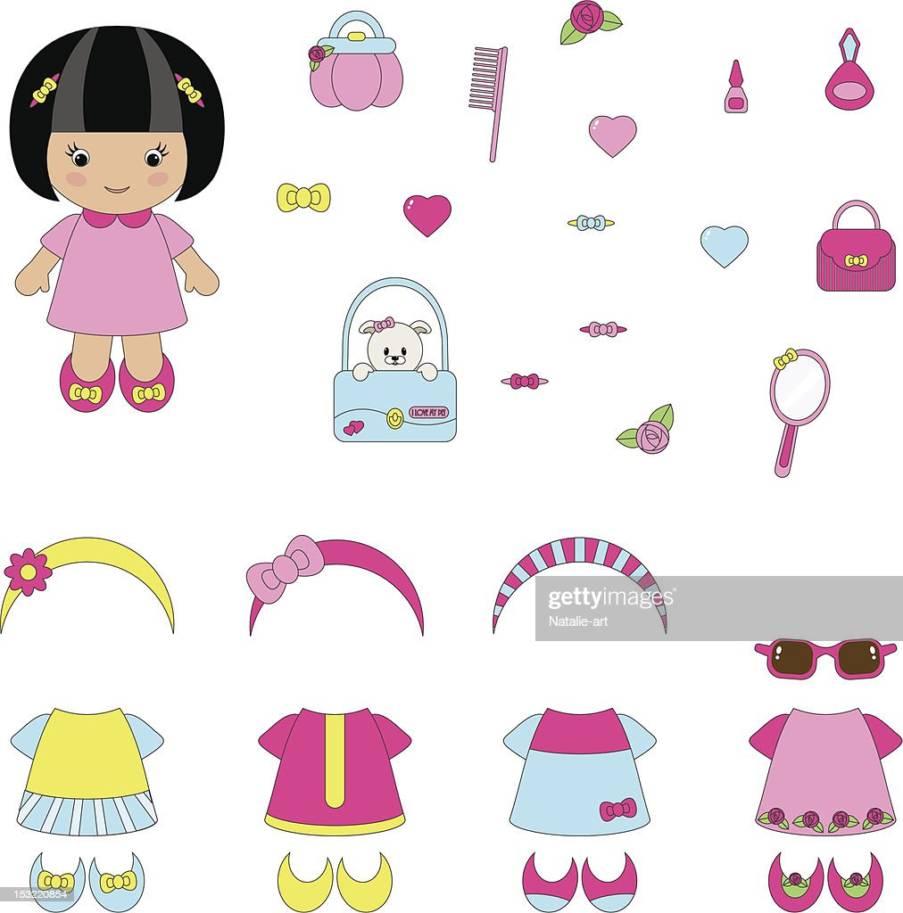 Girlish set of apparel and accessories