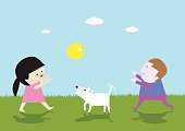 Girls and boys play ball with the white dog vector