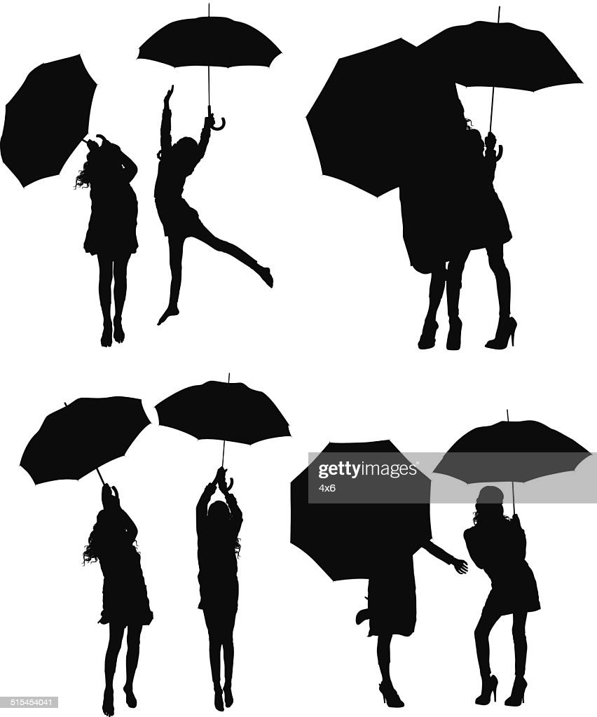 Girls and umbrella vector : stock illustration
