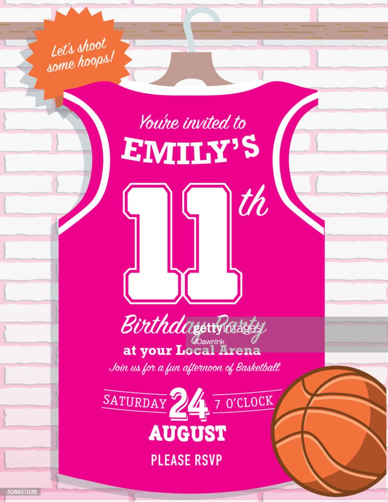 Girls Birthday Party Basketball Jersey Themed Invitation Design
