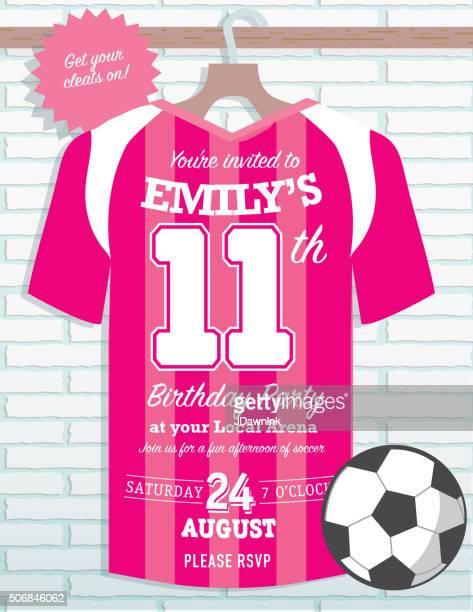 girls birthday party soccer jersey themed invitation design - soccer uniform stock illustrations