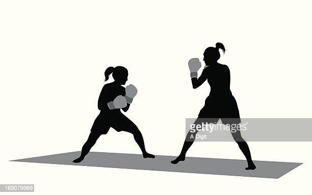 Girls Boxing Vector Silhouette