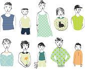 Girls, boys, men, women isolated on white background. Vector set.