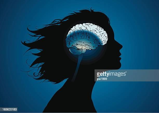 girls brains - female likeness stock illustrations