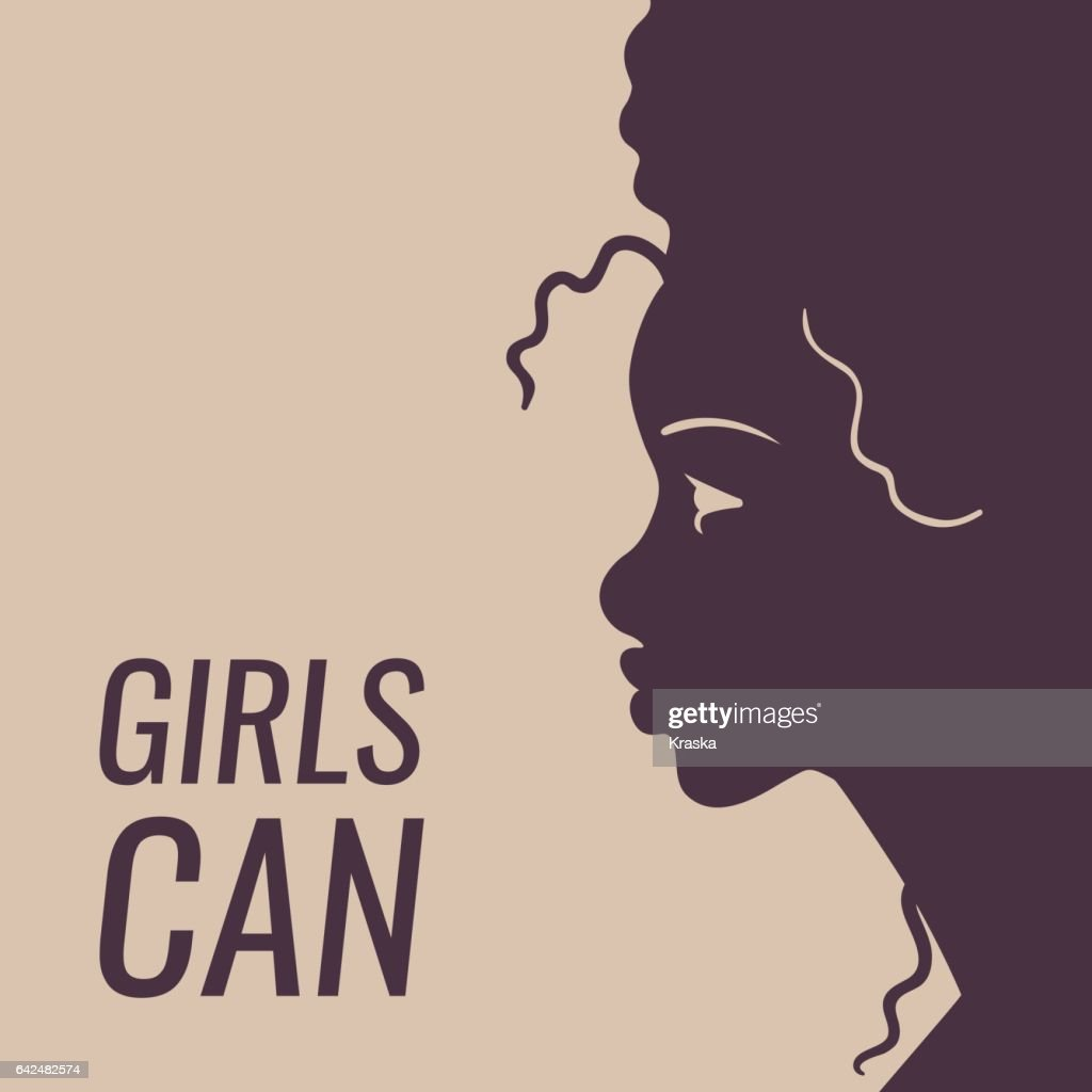 girls can poster with woman profile