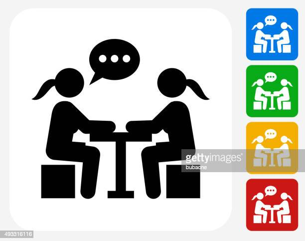 Girls Chatting Icon Flat Graphic Design