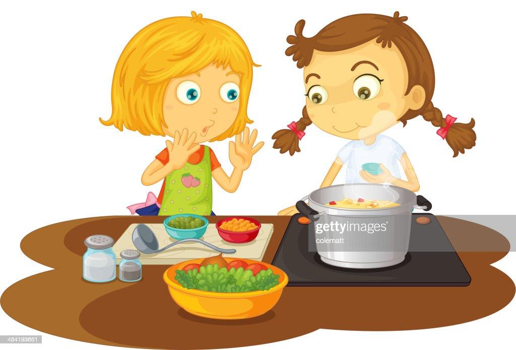 Meninas cozinhar alimentos : Arte vetorial
