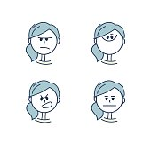 Girl's emotions. 10 eps. Vector.