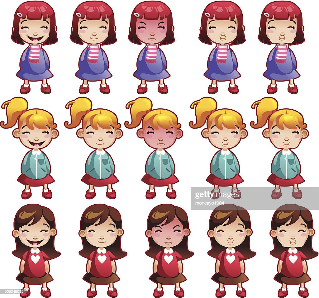 Girls emotions set illustration vector faces