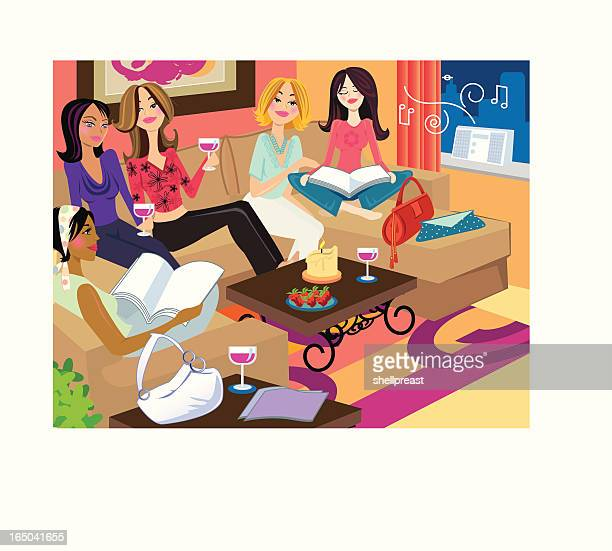 girls hanging - party social event stock illustrations, clip art, cartoons, & icons