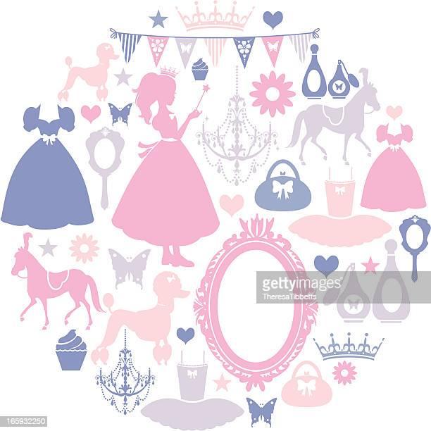 girls icon set - princess stock illustrations