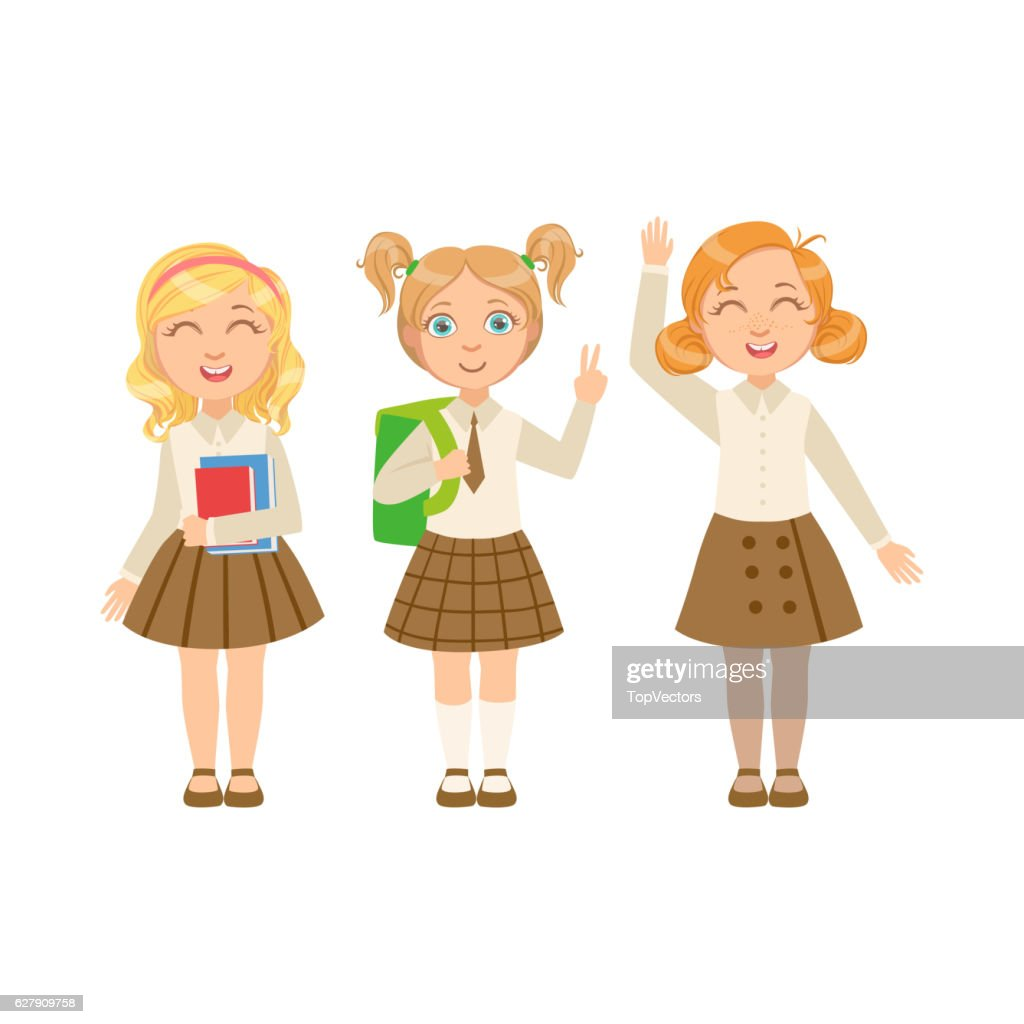 Girls In Brown Skirts Happy Schoolkids In Similar Collection School