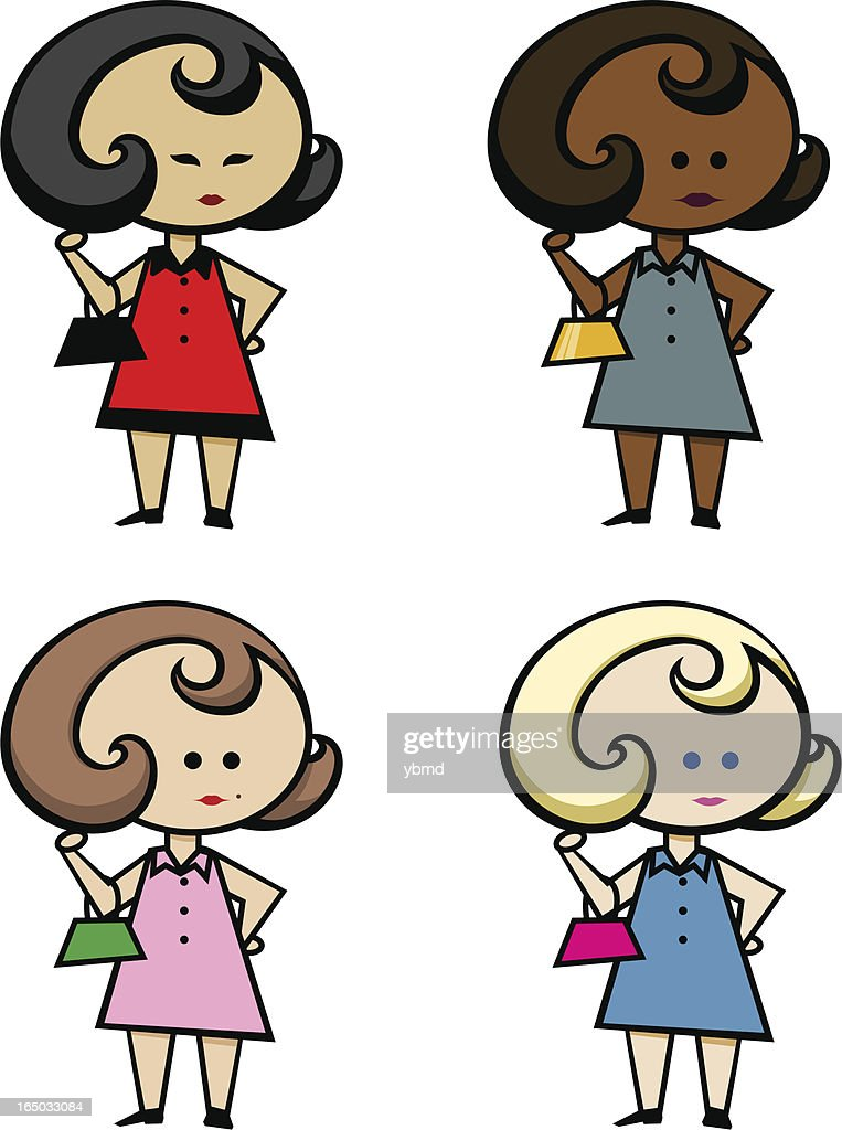 Girls in dress with purse (layered vector)