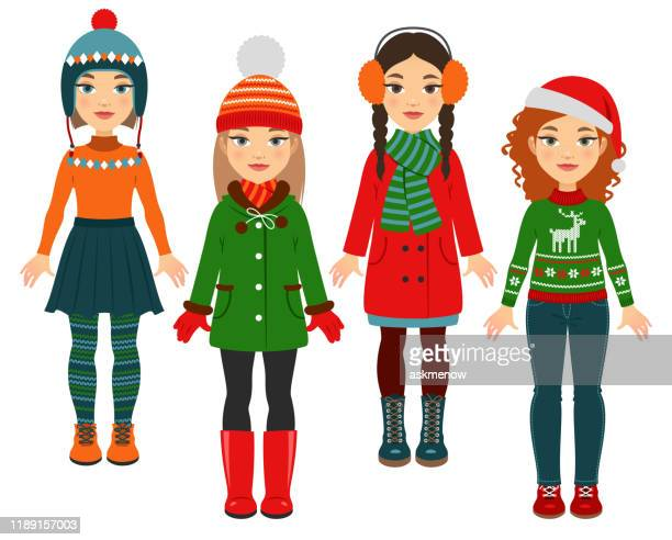 girls in warm clothes - green hat stock illustrations