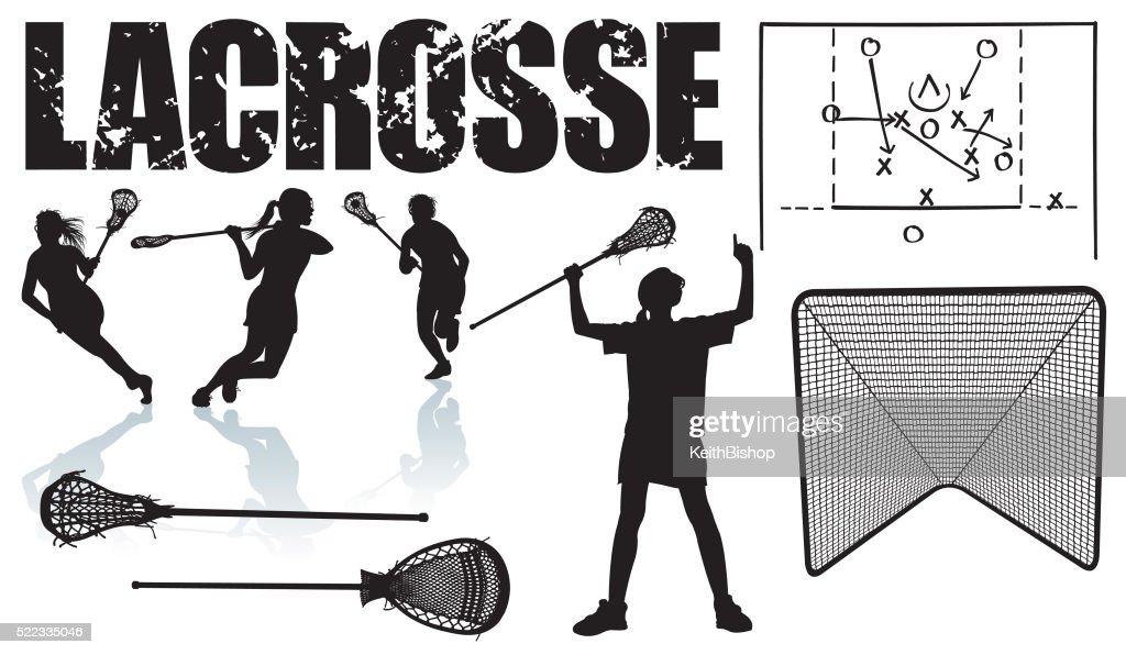 Girls Lacrosse - Sports Equipment : stock illustration