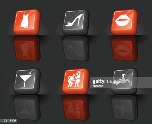 ilustraciones, imágenes clip art, dibujos animados e iconos de stock de girl's night out a internet conjunto de iconos vectoriales sin royalties - baile moderno