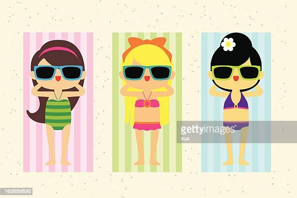girls on the beach - swimwear stock illustrations, clip art, cartoons, & icons