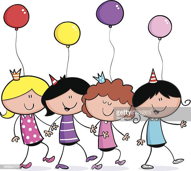 girls party dance - conga dancing stock illustrations, clip art, cartoons, & icons