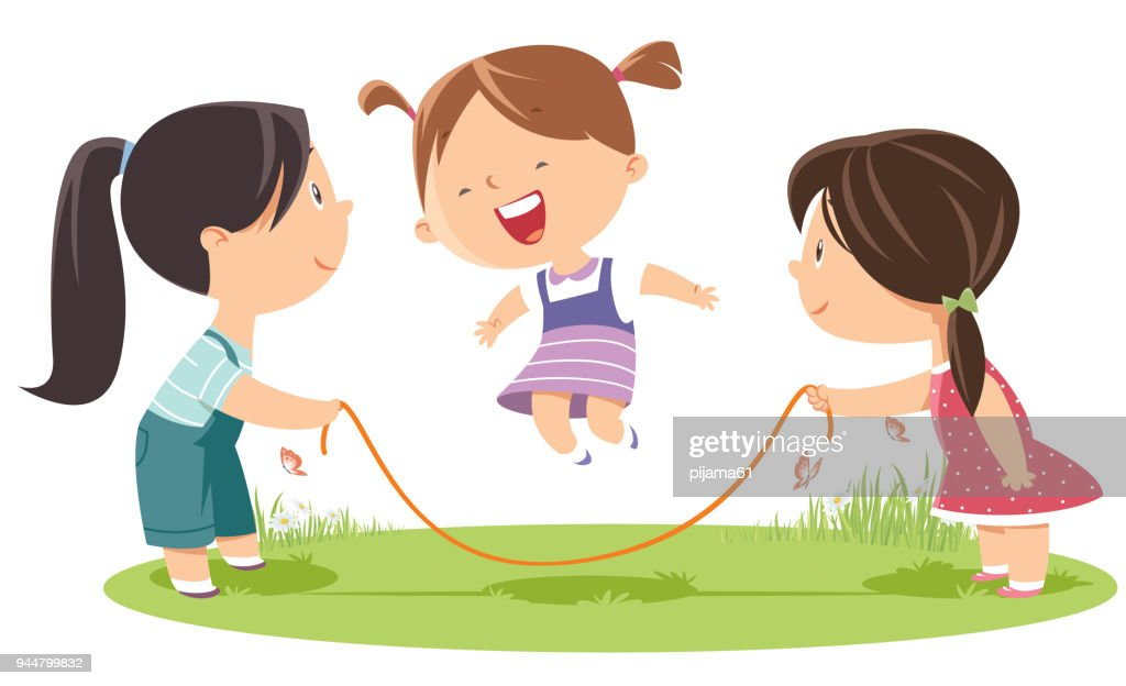 Girls playing jump rope : stock illustration
