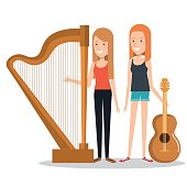 girls playing musical instruments together