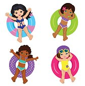Girls Pool Party isolated on background. Vector Illustration.
