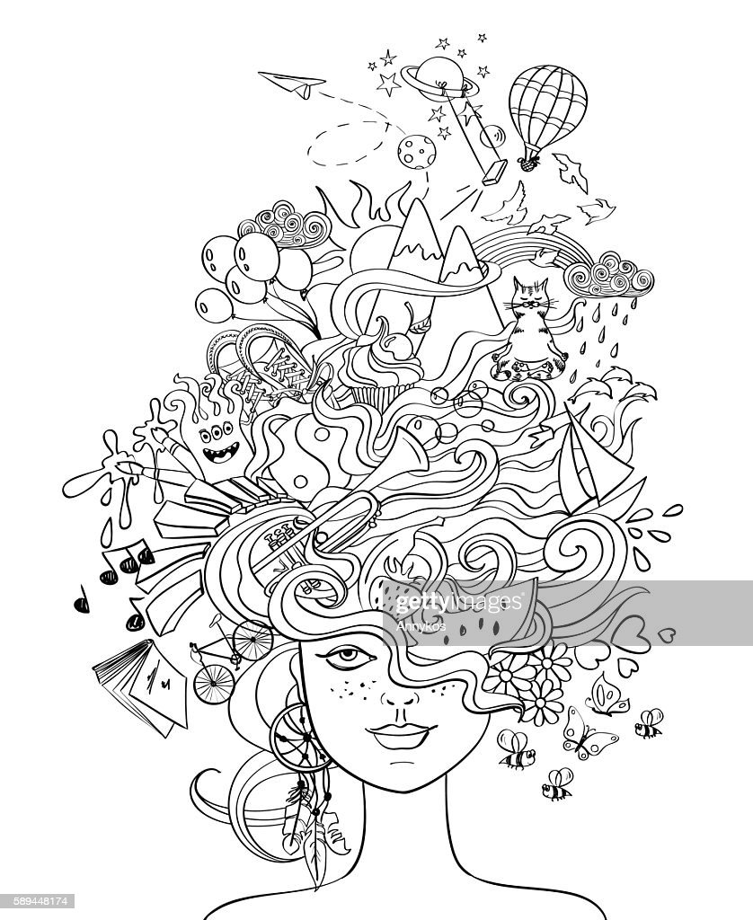 Girl's Portrait With Crazy Hair - Lifestyle Concept.